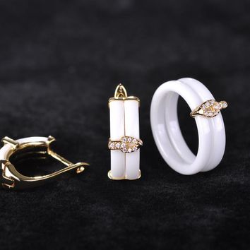 Blucome White Ceramic Earrings Ring Jewelry Sets Copper Princess Hooks Stud Earrings Rhinestones Zircon Two Rings With Gift Box