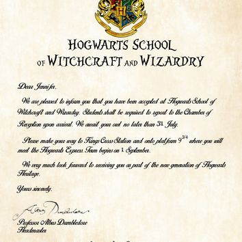 Personalized Harry Potter Acceptance Letter - Hogwarts School of Witchcraft and Wizardry Signed by Dumbledore
