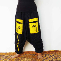 Black Yellow harem pant ,alladin pant,boho gypsy pant,women clothing,dresses ,afghani pant,beach pant