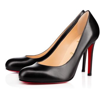 Best Online Sale Christian Louboutin Cl Simple Pump Black Leather 100mm Stiletto Heel