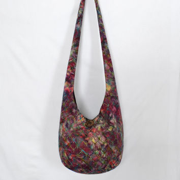Hobo Bag, Crossbody Bag, Hippie Purse, Sling Bag, Hobo Purse, Boho Bag, Bohemian Purse, Batik Hobo Bag, Purple, Burgundy, Batik Hippie Bag