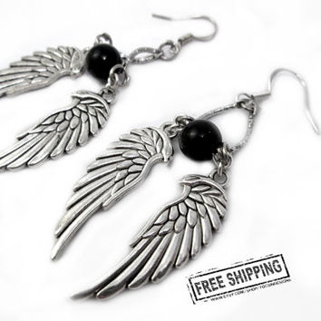 Gothic jewelry wing earrings black angel wings earrings dark angel deathrock gothic earrings rocker jewelry psychobilly goth earrings