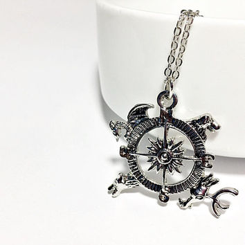 Astrolabe Necklace Inspired by Game of Thrones: house compass pendant, armillary sphere globe charm