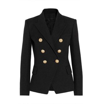 High Quality New Fashion 2016 Runway Style Women's Gold Buttons Double Breasted Blazer Outerwear Plus Size S Xxl