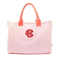 Personalized Seersucker Oversized Large Beach Bag Tote - Red