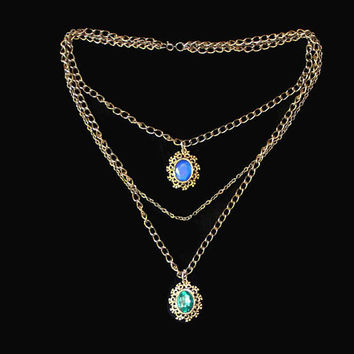 Victorian Style Multi Strand Chain Necklace, Gothic Jewelry