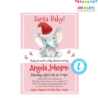 Christmas Baby Shower Invitations Girl, Christmas Baby Shower Invites, Elephant Invitation, Christmas Invitation Template Download
