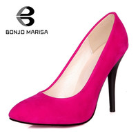 BONJOMARISA 2017 Big Size Concise Simple Super High Thin Heel Women Shoes Pumps Flock Slip On OL Party Casual Ladies Pumps