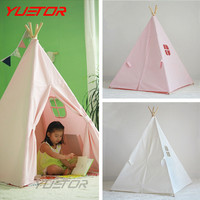 Brand YUETOR high quality 100% cotton canvas kids play tent with wood eco friendly child game house Indian teepee toy tent