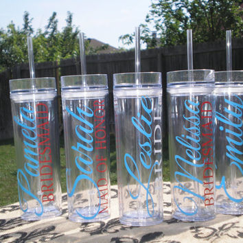 Set of 5-- Personalized Bride, Maid of Honor, Matron of Honor, Bridesmaid, and Flower Girl Acrylic Tumblers, Bridal Party Tumbler Gifts