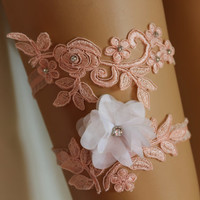 Wedding Garter Samon Lace Bridal Garter,,Bridal Lingerie,The Same Lace Barefoot Sandals,Garter and Bridal Barefoot Sandals Set
