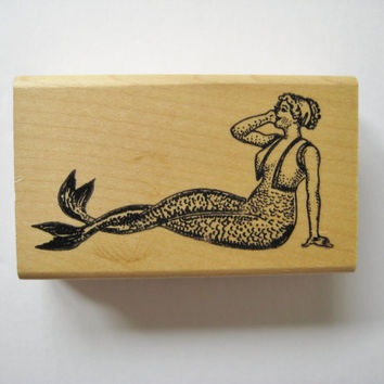 Rubber Stamp Mermaid Rubber Stamp Sitting Mermaid Stamp Ken Brown Stamp Scrapbooking
