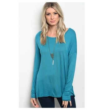 Always Adorable, Long Sleeve Teal Tunic Top