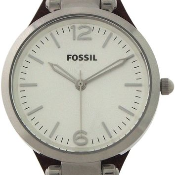 fossil - es3060p georgia brown leather watch watch 1 piece