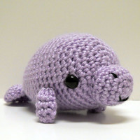 Light Purple Big Manatee - Made to Order - Crocheted Plushie