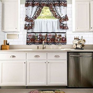 Ben&Jonah Collection Mason Jars Window Curtain Set - 57x36 Tier Pair/57x36 Tailored Topper with attached valance and tiebacks. - Black/White