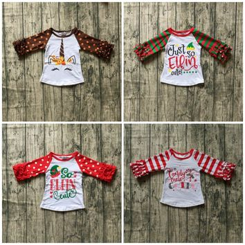 dc3de41d8 Christmas Fall/winter red green T-shirt top ruffle long sleeves