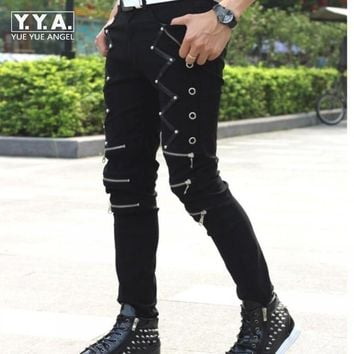 Goth Punk Skinny Casual Pants with Zippers