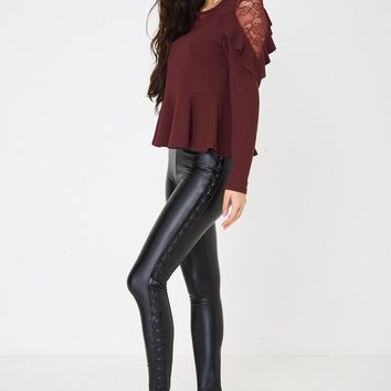 Leather Look Leggings with Stars Side Print