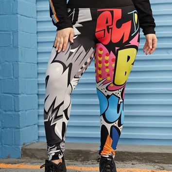 Plus Comic Print Leggings