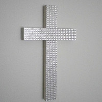 """BLING WALL CROSS - Sparkling with Small Clear Square Gems- 9.5"""" x 5.5"""""""