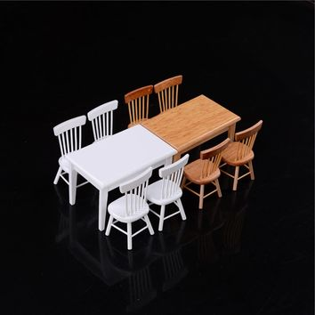 5Pc/set Dollhouse 1/12 Scale Miniature Wooden Dining Chair Table Furniture Set For Doll house Kitchen Food Furniture Toys 2Color