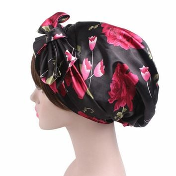 Satin bowknot headscarf floral printed sleeping bonnet long tail silk head Scarf bandanas womens hair wraps for wedding party