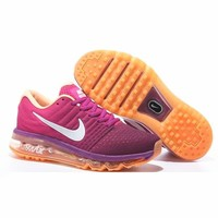 NIKE Trending Fashion Casual Sports Shoes AirMax Toe Cap hook section knited Black red roses soles