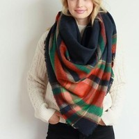 Plaid Patterned Oversized Knit Fringe Blanket Scarf