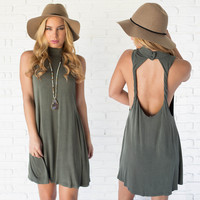 Twisted Love Open Back Dress In Olive