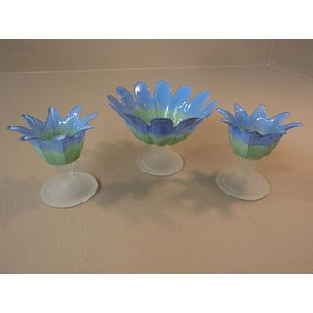 Designer Candle Holders Set of 3 Two Sizes Blue/Green/Frosted Flower Modern -- Used