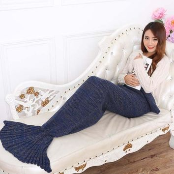 Mermaid Style Super Soft Hand Crocheted Tail Blanket Sofa Blanket Knitting wool Lazy couch Winter warmer blanket 195 x 85 cm
