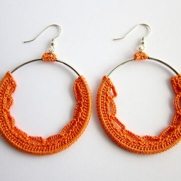 orange earrings,crochet earrings,cotton earrings,silver earrings,circle earrings,dangle earrings,elegant earrings,hoops orange,round earring