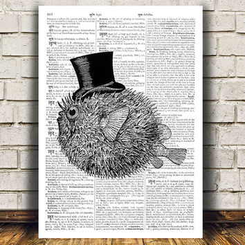 Fugu fish poster Beach print Nautical print Dictionary decor RTA501