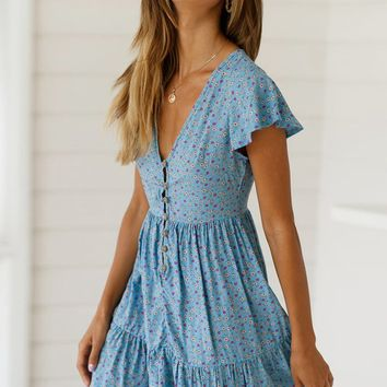 Modest Sky Blue Floral Print Short Sleeve Valentina Dress
