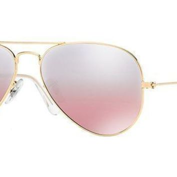 ESBONG6 Ray-Ban Women's Aviator RB3025 001/3E Gold Frame/Pink Mirror Lens, 62 mm Non-Polarized Sunglasses