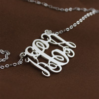 Alexis Bellino Style Personalized Monogram Necklace Silver