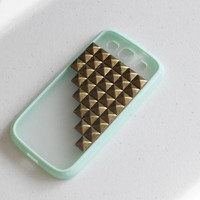 durable protective brass studds pyramid Samsung galaxy S3 i9300 phone case phone cover - Bronze rivet studded pyramid phone case