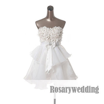 Flowers princess short organza party dress by Rosaryweddingdress