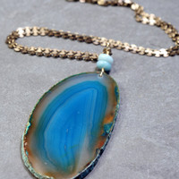 Long Agate Slice Pendant Necklace - Teal Blue Statement Necklace