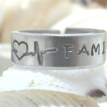 Family Heartbeat  Hand Stamp Ring (Ring 417A)