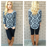 Grey Southwestern Knit Top