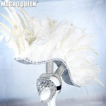 Burning Man Rave Costumes Feather Head Piece Wear Festival Clothes Outfits Stage Gear Show (as photo)