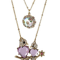 BetseyJohnson.com - LOVE BIRDS 2 ROW NECKLACE PINK