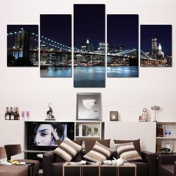 World Art Canvas Prints New York City Landscape Oil Knife Painting Beautiful Modern Bridge Picture Wall Art Decor Knife Painting