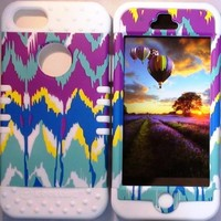 Cellphone Trendz (TM) Hybrid High Impact Bumper Case Tie-Dye Aztec Tribal / White Silicone for Apple iphone 5
