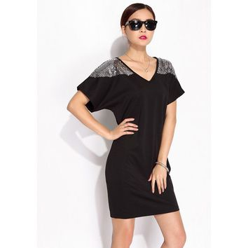Summer New Style Large Yards Women's Clothing Batwing Short Sleeve Loose Dresses Sequin V-Neck Plus Size Dress Slim