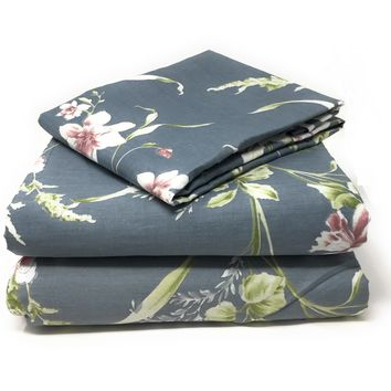 Tache 2-3 PC 100% Cotton Cherry Blossom Dusk Floral Grey Gray Rustic Girly Flat Sheet Set (TA2162FLT)