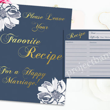 Bridal Shower Recipe Cards and Sign Elegant Gold White Flower color customization recipe cards for wedding shower printable game digital