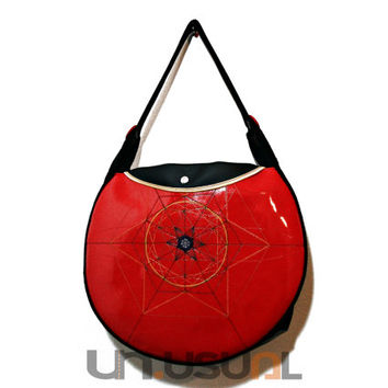 "On SALE! Vegan Handbag for Women Red Black, Vegan Shoulder Bag UNUSUAL - Collection ""Mandala"""